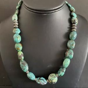 Jewelry - Sterling Silver Turquoise Bead Necklace. 18 inch